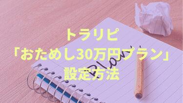 トラリピを30万円で運用する「初心者おためしプラン」の設定方法